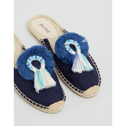 Kiki Tassel Mules Midnight Blue by Soludos