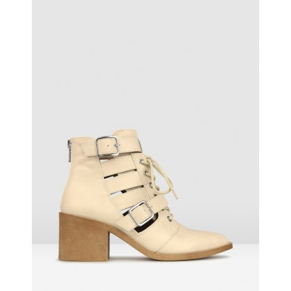 Kilter Pointed Buckle Ankle Boots Bone by Betts