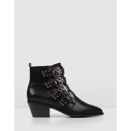Kinley Ankle Boots Black Leather by Jo Mercer