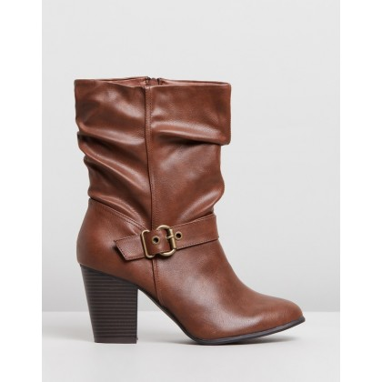 Klarissa Slouch Boots - Wide Fit Tan by Dorothy Perkins