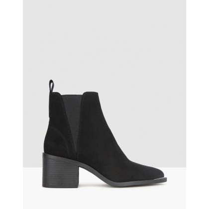 Knockout Block Heel Ankle Boots Black Micro by Betts