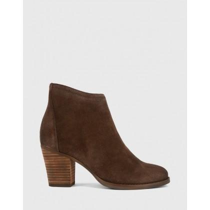 Kylar Block Heel Ankle Boots Brown by Wittner