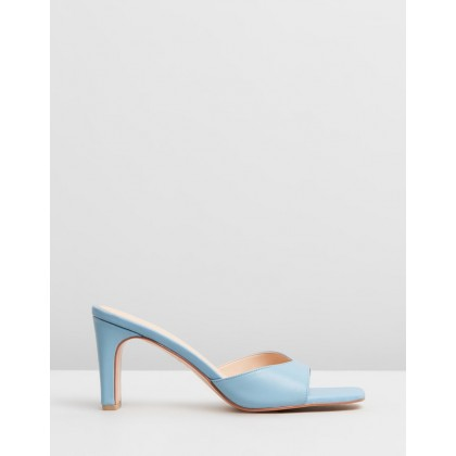 Kyra Leather Heels Baby Blue Leather by Atmos&Here
