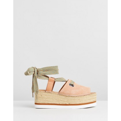 Lace Tie Flatforms Tan by See By Chlo??