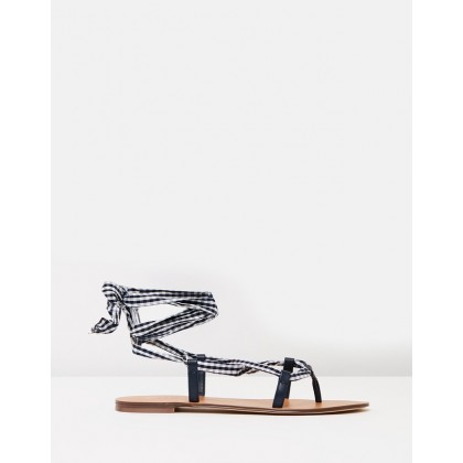 Lace-Up Caspian Sandals Navy & White by J.Crew