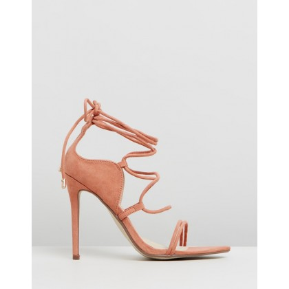 Lace-Up Double Strap Barely-There Heels Pink by Missguided