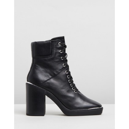 Lace-Up Hiker Boots Black by Topshop