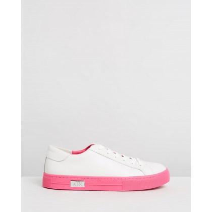 Lace-Up Sneakers White & Fuchsia by Armani Exchange