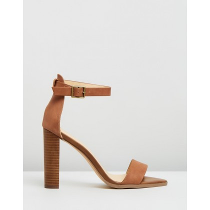 Lara Leather Block Heels Tan Leather by Atmos&Here