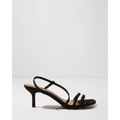 Lara Strappy Stilettos Black Microsuede by Rubi