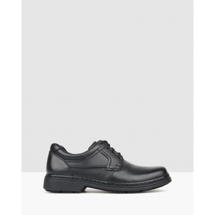 Larry Leather Lace-Up Shoes Black by Airflex
