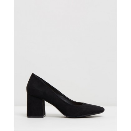 Larson Block Heels Black Microsuede by Spurr