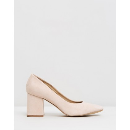 Larson Block Heels Blush Microsuede by Spurr