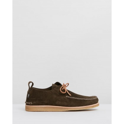 Lawson Crepe Moccasins Olive Suede by Yogi
