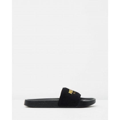Leadcat Suede Slides - Unisex Black & Team Gold by Puma