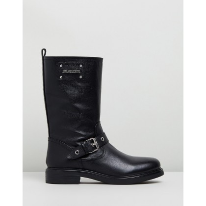 Leather Buckle Strap Boots Black by Love Moschino