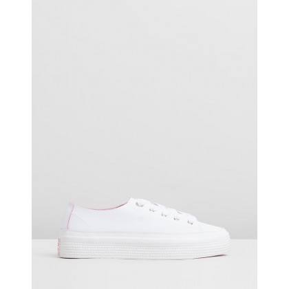 Leather Flatform Sneakers - Women's White by Tommy Hilfiger