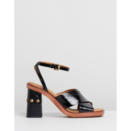 Leather Stud Sandal Heels Black by See By Chlo??