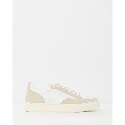 Leather-Suede Lowtop Sneakers Pearl White & Beige by Cerruti 1881