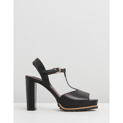 Leather T-Bar Platform Heels Black by See By Chlo??