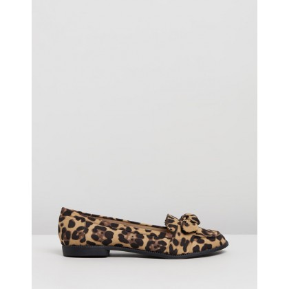 Leopard Leah Bow Loafers Animal by Dorothy Perkins