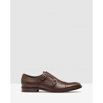 Leopold Leather Monk Shoes Mid Brown by Oxford