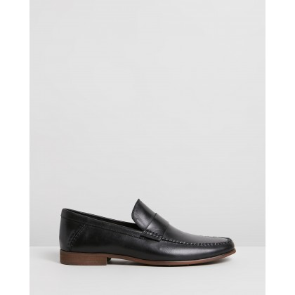 Leston Leather Loafers Black by Double Oak Mills