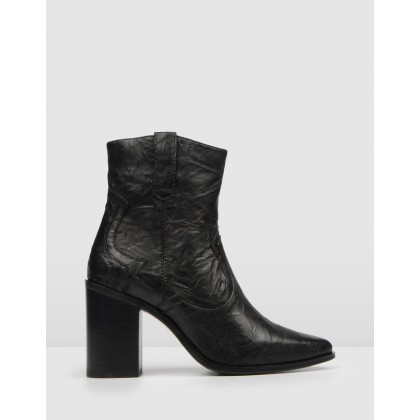Liberty High Ankle Boots Black Leather by Jo Mercer