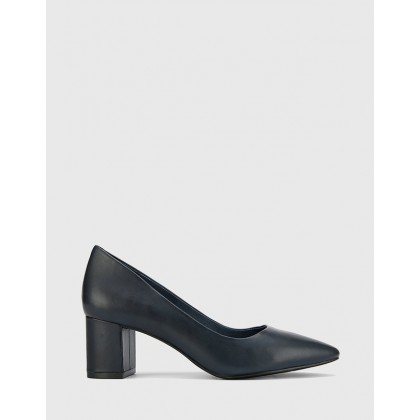 Liona Pointed Toe Block Heel Pumps Navy by Wittner