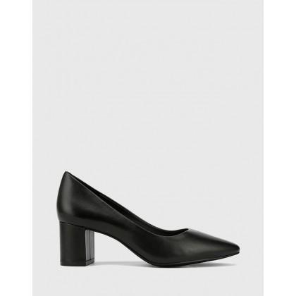 Liona Pointed Toe Block Heel Pumps Black by Wittner