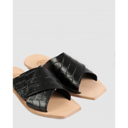 Lisette Flat Sandals Black by Beau Coops