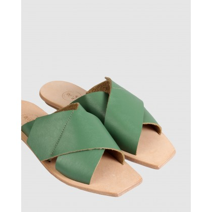 Lisette Flat Sandals Green by Beau Coops