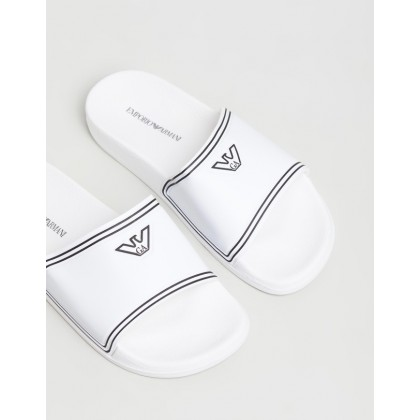 Logo Slides - Women's White & Black by Emporio Armani