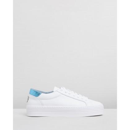 Logomania Platform Sneakers White & Sky by Chiara Ferragni
