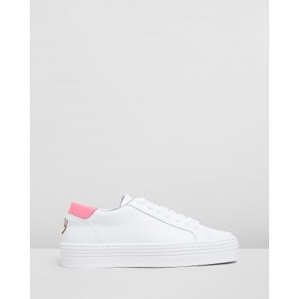Logomania Platform Sneakers Pink Fluoro by Chiara Ferragni