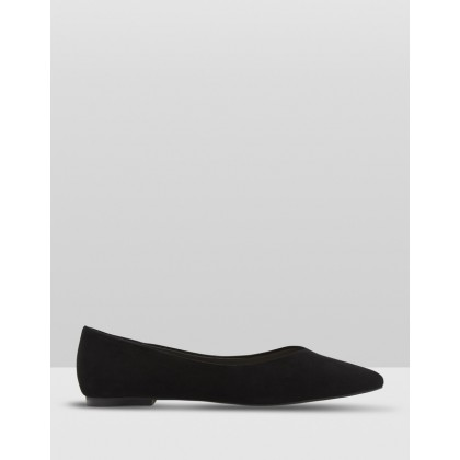Lola Suede Flat Shoes Black by Oxford