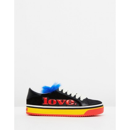 Love Empire Faux Fur Sneakers Black Multi by Marc Jacobs