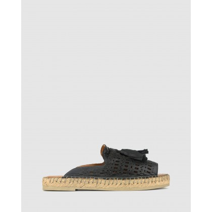 Lovely Laser Cut Espadrille Sandals Black by Airflex