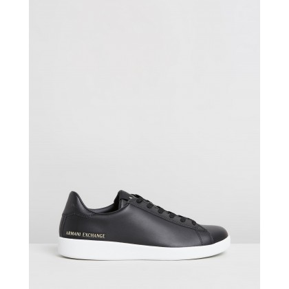 Low Leather Lace-Up Sneakers Black by Armani Exchange
