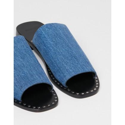 Luella Denim Slides Washed Denim by Oneteaspoon
