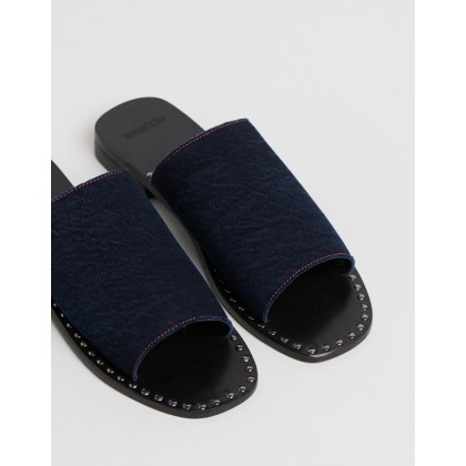 Luella Denim Slides Indigo Denim by Oneteaspoon