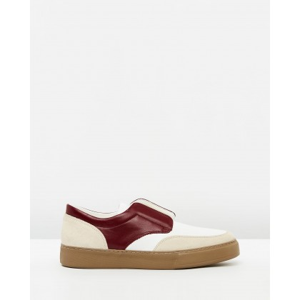 Luxe Leather Slip Ons Pearl White & Burgundy by Cerruti 1881