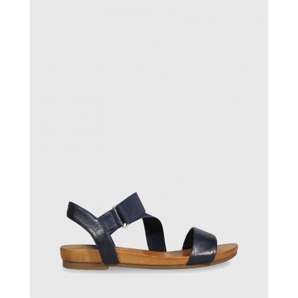 Lyla Contoured Footbed Flat Sandals Navy by Wittner