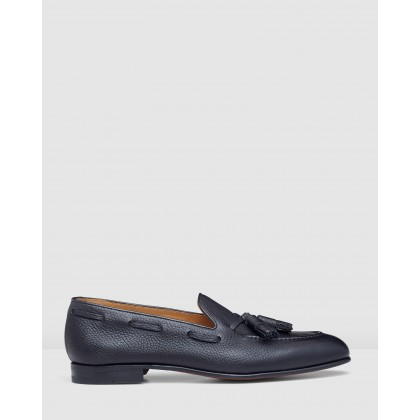 Lyons Tassel Loafers Navy by Aquila