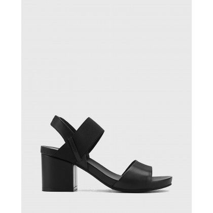 Maddox Leather Open Toe Block Heel Sandals Black by Wittner