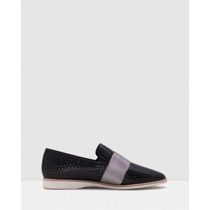 Madison Albert Strap Punch Shoes Black/Pewter by Rollie