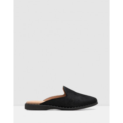 Madison Mule Flats Studded All Black Pony by Rollie