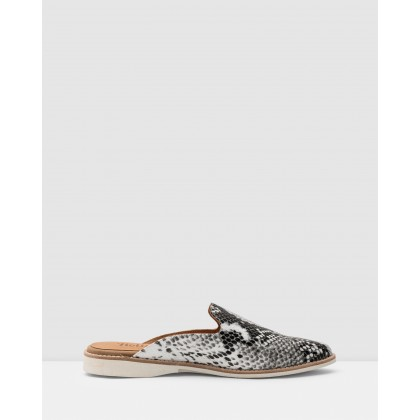 Madison Mule Flats Grey Snake by Rollie