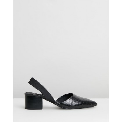 Madison Mules Black Croc by Sol Sana