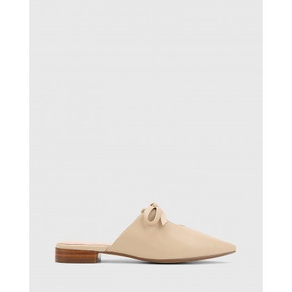 Magdalena Leather Pointed Toe Slip On Flats Beige by Wittner